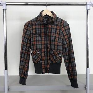 H&M Plaid Zip Up Pocket Utility Jacket